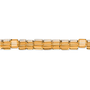 bead, celestial crystal, 18-facet, gold, 4x4mm faceted cube. sold per 16-inch strand.