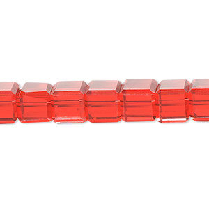 bead, celestial crystal, 18-facet, red, 8x8mm faceted cube. sold per 16-inch strand.