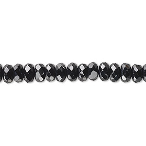bead, celestial crystal, 32-facet, black, 6x3mm faceted disc. sold per 16-inch strand.