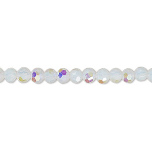 bead, celestial crystal, 32-facet, frosted transparent clear ab, 4mm faceted round. sold per 16-inch strand.