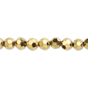 bead, celestial crystal, 32-facet, metallic gold, 6mm faceted round. sold per 16-inch strand.