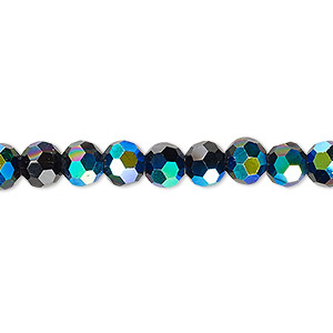 bead, celestial crystal, 32-facet, opaque black ab, 6mm faceted round. sold per 16-inch strand.