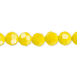 bead, celestial crystal, 32-facet, opaque yellow, 8mm faceted round. sold per 16-inch strand.