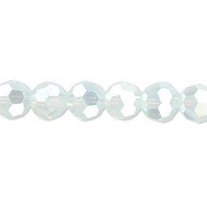 bead, celestial crystal, 32-facet, shiny frost ab2x, 8mm faceted round. sold per 16-inch strand.