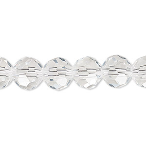 bead, celestial crystal, 32-facet, transparent clear, 10mm faceted round. sold per 16-inch strand.