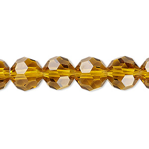 bead, celestial crystal, 32-facet, transparent gold, 10mm faceted round. sold per 16-inch strand.