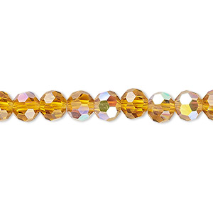bead, celestial crystal, 32-facet, transparent gold ab, 6mm faceted round. sold per 16-inch strand.
