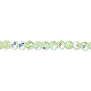 bead, celestial crystal, 32-facet, transparent lime green ab, 4mm faceted round. sold per 16-inch strand.