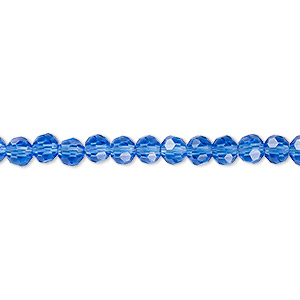 bead, celestial crystal, 32-facet, transparent medium blue, 4mm faceted round. sold per 16-inch strand.