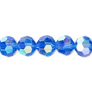 bead, celestial crystal, 32-facet, transparent medium blue ab, 10mm faceted round. sold per 16-inch strand.