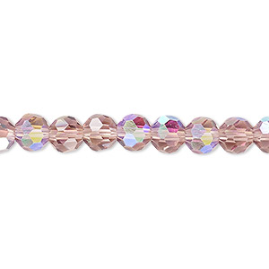 bead, celestial crystal, 32-facet, transparent medium purple ab, 6mm faceted round. sold per 16-inch strand.