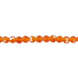 bead, celestial crystal, 32-facet, transparent orange, 4mm faceted round. sold per 16-inch strand.