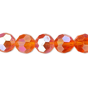 bead, celestial crystal, 32-facet, transparent orange ab, 10mm faceted round. sold per 16-inch strand.