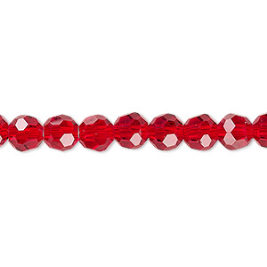 bead, celestial crystal, 32-facet, transparent red, 6mm faceted round. sold per 16-inch strand.