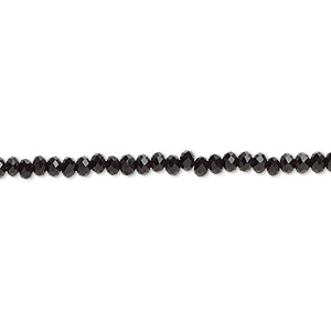 bead, celestial crystal, 48-facet, black, 2.5x2mm faceted rondelle. sold per 8-inch strand, approximately 100 beads.