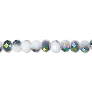 bead, celestial crystal, 48-facet, opaque white with half-coat metallic green, 6x4mm faceted rondelle. sold per 16-inch strand.