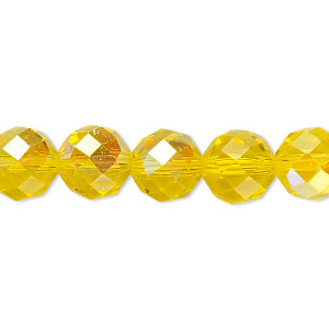 bead, celestial crystal, 48-facet, transparent yellow ab, 10mm faceted round. sold per 16-inch strand.