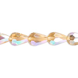 bead, celestial crystal, 56-facet, gold ab, 12x8mm faceted teardrop. sold per 16-inch strand.