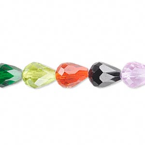 bead, celestial crystal, 56-facet, multicolored, 10x7mm faceted teardrop. sold per 16-inch strand.