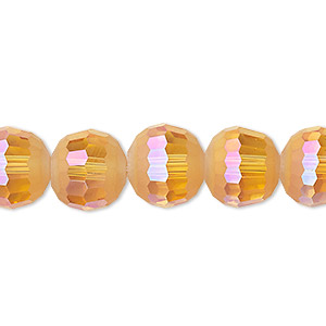 bead, celestial crystal, 96-facet, translucent golden blush ab half matte, 12mm faceted round. sold per 8-inch strand, approximately 15 beads.