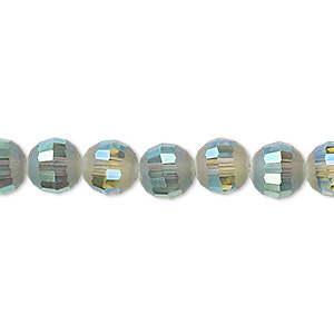 bead, celestial crystal, 96-facet, translucent peacock ab half matte, 8mm faceted round. sold per 8-inch strand, approximately 25 beads.