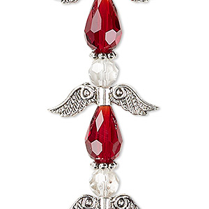 bead, celestial crystal and antique silver-plated pewter (zinc-based alloy), red and clear, 23x23mm angel. sold per pkg of 4.