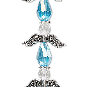bead, celestial crystal and antique silver-plated pewter (zinc-based alloy), light turquoise blue ab and clear, 23x23mm angel. sold per pkg of 4.