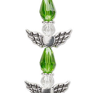 bead, celestial crystal and antique silver-plated pewter (zinc-based alloy), lime green and clear, 25x22mm angel. sold per pkg of 4.
