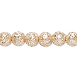 bead, celestial crystal and moonscape™, glass pearl, champagne, 8mm textured round. sold per pkg of (2) 16-inch strands.