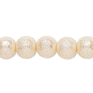 bead, celestial crystal and moonscape™, glass pearl, peach, 10mm textured round. sold per pkg of (2) 16-inch strands.