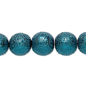 bead, celestial crystal and moonscape™, glass pearl, teal, 12mm textured round. sold per 16-inch strand.
