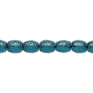 bead, celestial crystal and moonscape™, glass pearl, teal, 7x6mm textured barrel. sold per pkg of (2) 16-inch strands.