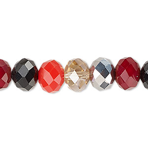 bead, celestial crystal, berries, 10x8mm faceted rondelle. sold per 16-inch strand.