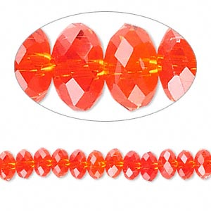 bead, celestial crystal, glass, 32-facet, red, 6x3mm faceted disc. sold per 16-inch strand.