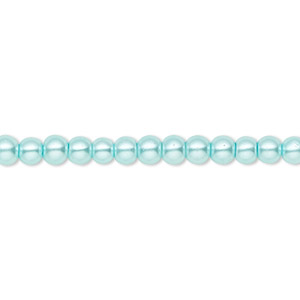 bead, celestial crystal, glass pearl, aqua blue, 4mm round. sold per pkg of (2) 16-inch strands.