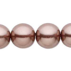 bead, celestial crystal, glass pearl, brown, 16mm round. sold per 16-inch strand.