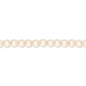 bead, celestial crystal, glass pearl, cream, 4mm round. sold per pkg of (2) 16-inch strands.