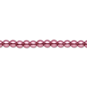 bead, celestial crystal, glass pearl, dusty rose, 3-4mm round. sold per pkg of (2) 16-inch strands.