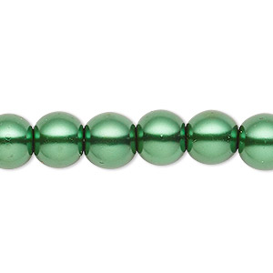 bead, celestial crystal, glass pearl, forest green, 7-8mm round. sold per pkg of (2) 16-inch strands.