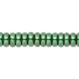 bead, celestial crystal, glass pearl, forest green, 8x3mm rondelle. sold per pkg of (2) 16-inch strands.