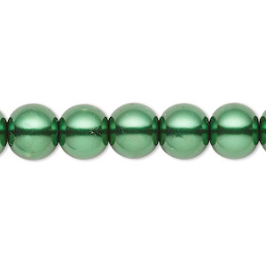 bead, celestial crystal, glass pearl, forest green, 9-10mm round. sold per pkg of (2) 16-inch strands.