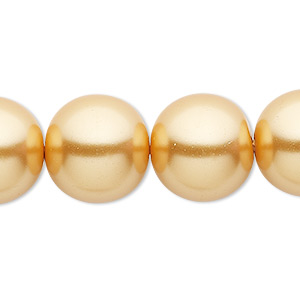 bead, celestial crystal, glass pearl, gold, 16mm round. sold per 16-inch strand.