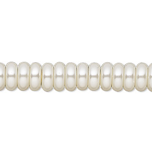 bead, celestial crystal, glass pearl, ivory, 8x3mm rondelle. sold per pkg of (2) 16-inch strands.