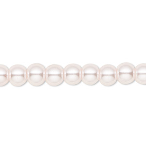 bead, celestial crystal, glass pearl, light pink, 6mm round. sold per pkg of (2) 16-inch strands.