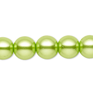 bead, celestial crystal, glass pearl, lime green, 11-12mm round. sold per 16-inch strand.