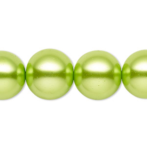 bead, celestial crystal, glass pearl, lime green, 15-16mm round. sold per 16-inch strand.