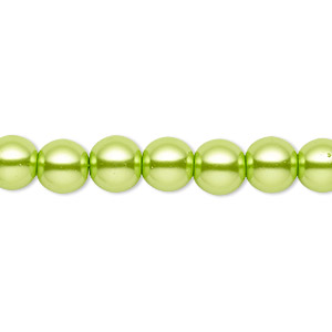 bead, celestial crystal, glass pearl, lime green, 7-8mm round. sold per pkg of (2) 16-inch strands.