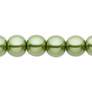bead, celestial crystal, glass pearl, medium green, 10mm round. sold per pkg of (2) 16-inch strands.