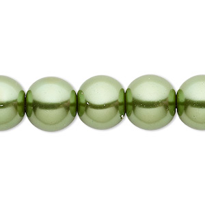 bead, celestial crystal, glass pearl, medium green, 12mm round. sold per 16-inch strand.