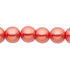 bead, celestial crystal, glass pearl, orange-red, 10mm round. sold per pkg of (2) 16-inch strands.
